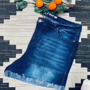 Revolution plus size raw edge denim shorts size 22